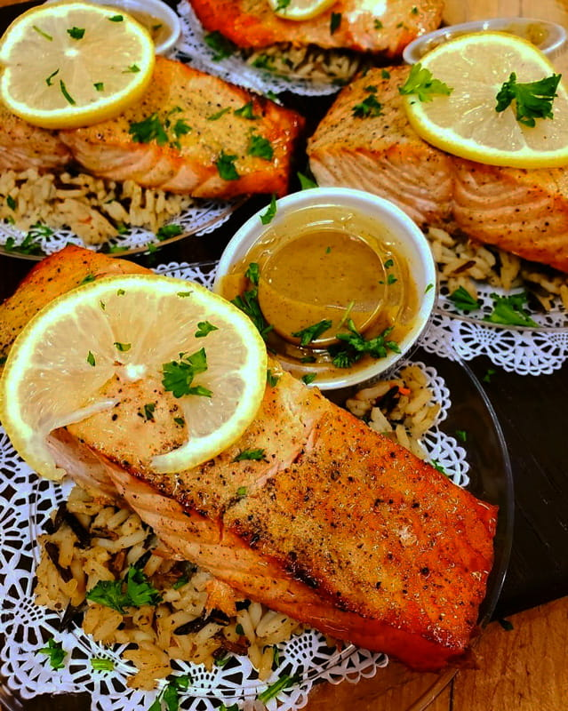 Salmon over a bed of rice